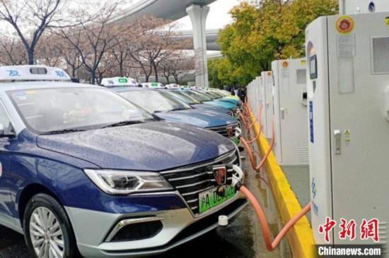 上海虹桥机场出租车蓄车场充电示范点正式建成投用