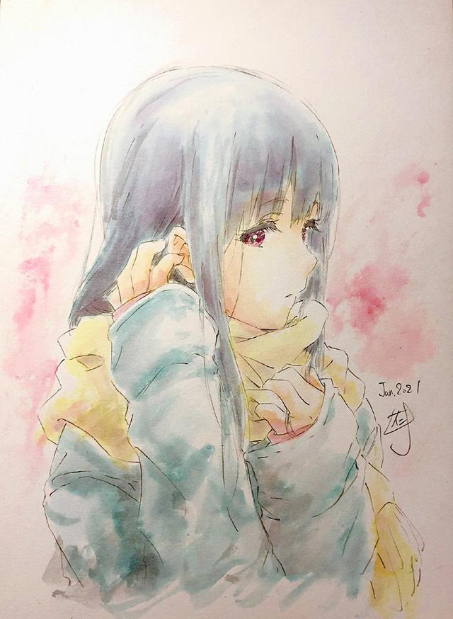作画监督仁井学公开了为「吹响!上低音号」中的铠塚霙绘制的水彩版画像,共两季
