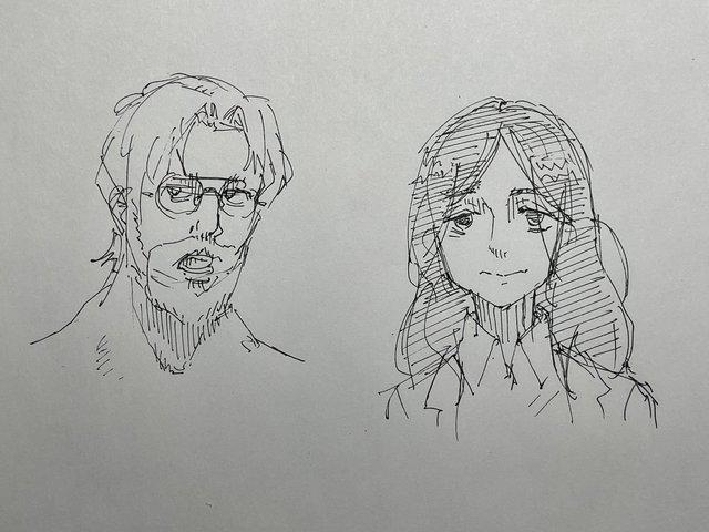 漫画「少女终末旅行」的作者为「进击的巨人」中的吉克·耶格尔和皮克随手绘制了素描画