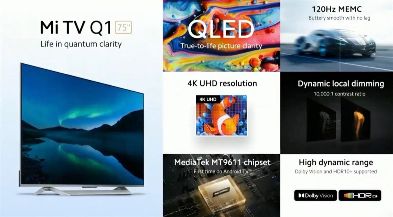 小米电视 Q1海外正式发布 搭载4K QLED 屏 拥有192 个全阵列调光区域