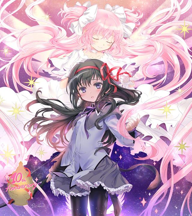 画师ぷにゃん公开了其绘制的动画「魔法少女小圆」10周年纪念贺图
