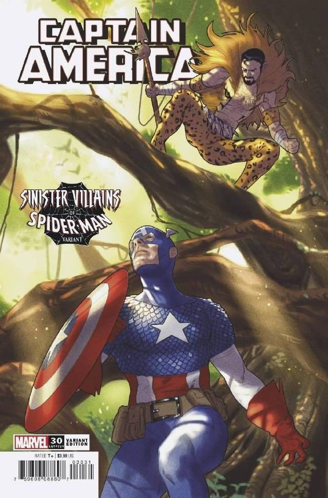 画师Taurin Clarke公开了绘制的「美国队长」第30期「蜘蛛侠反派」变体封面