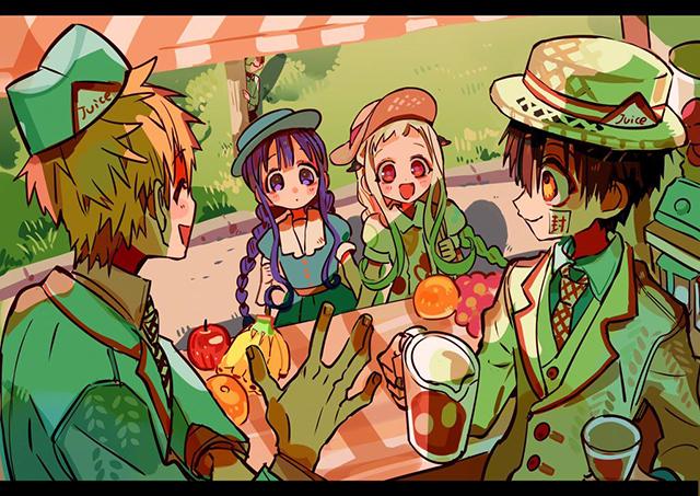 漫画「地缚少年花子君」的作者あいだいろ公开了其最新的绘图,包括花子君、八寻宁宁等角色