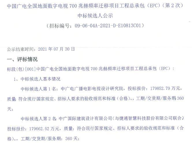中国广电700MHz频率迁移项目中标结果出炉 两家单位成为候选人