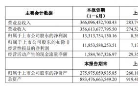 上汽集团上半年净利润133亿元 制造业板块现金净额大幅增长