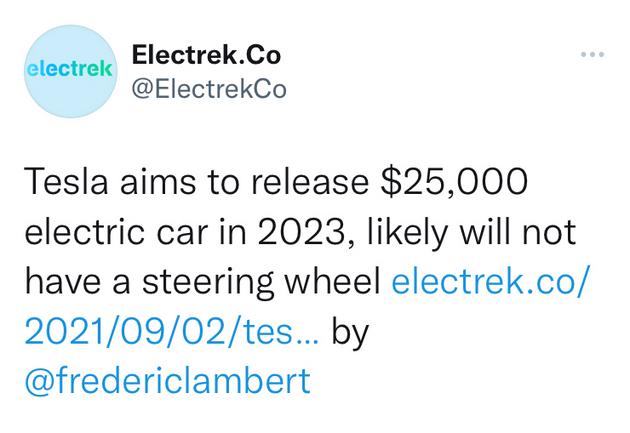 特斯拉2023年或将推出无方向盘电动车 电池成本降低50%
