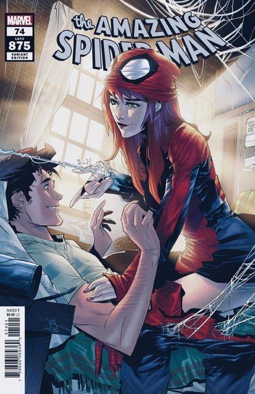 漫威漫画公开了「神奇蜘蛛侠」第74期的变体封面 玛丽·简·沃森和她的男友「蜘蛛侠」彼得·帕克